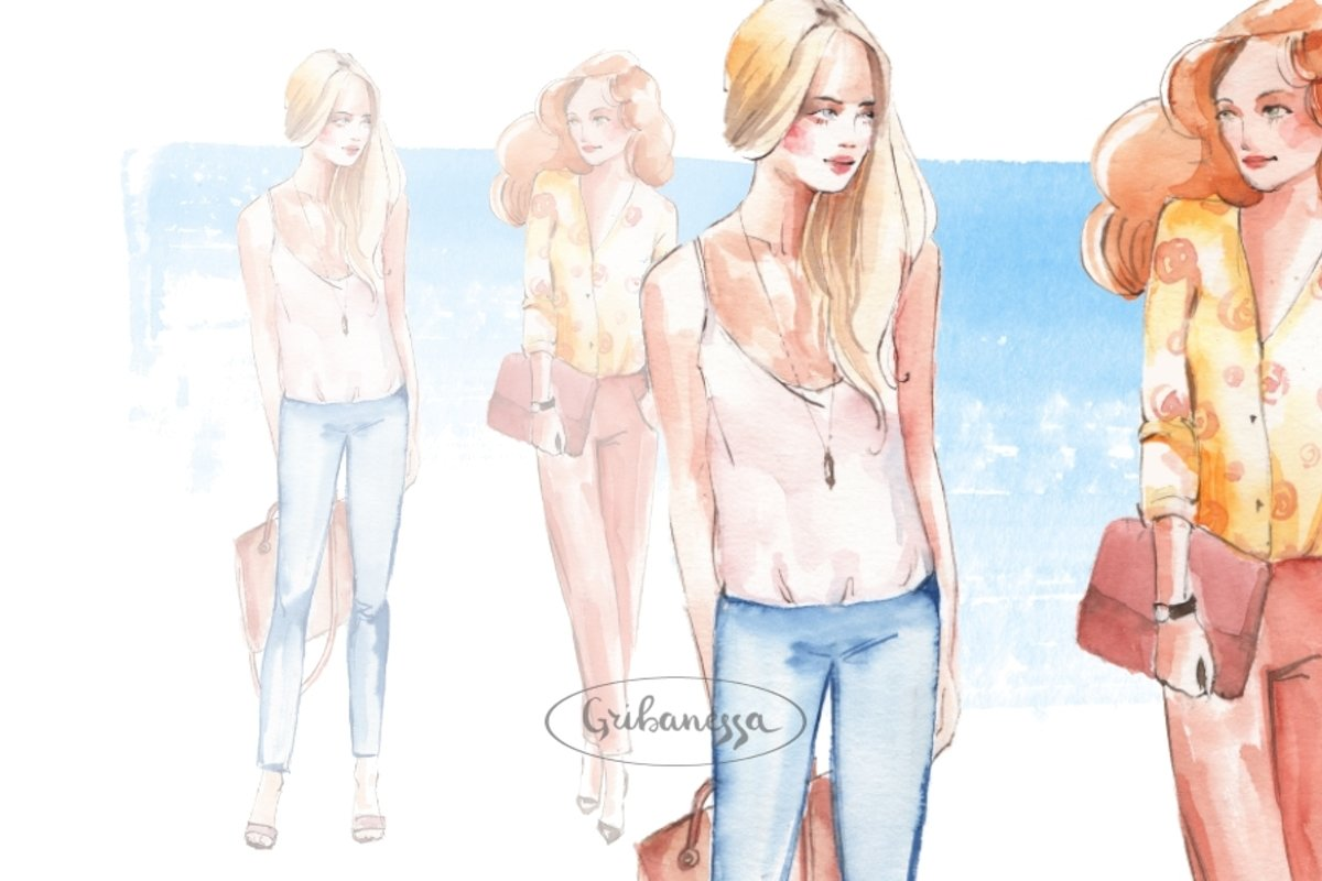 Fashion girls. Watercolor example image 1