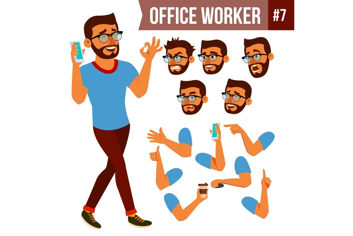 Office Worker Vector. Face Emotions example image 1