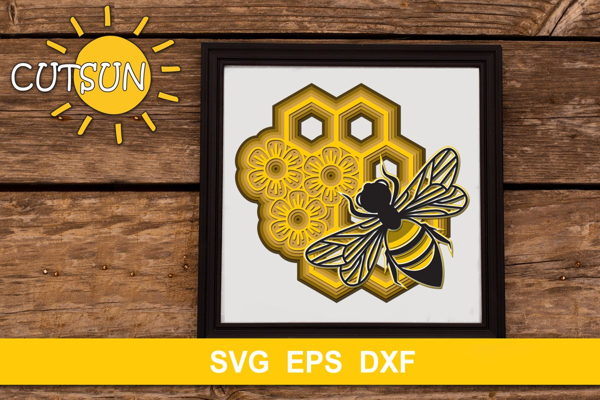 3D Bee & Honeycomb Layered SVG example image 1