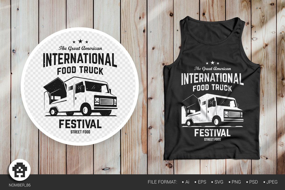 Food truck svg. Black and white t-shirt food truck print. example image 1
