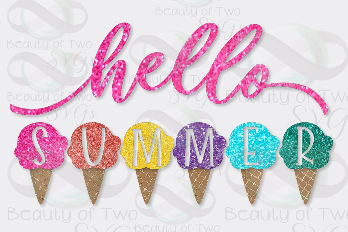 Hello Summer Ice Cream Sublimation Design Summer png 300 dpi example image 1