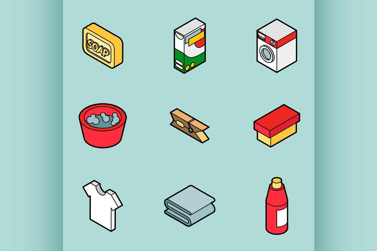 Laundry flat outline isometric icons example image 1