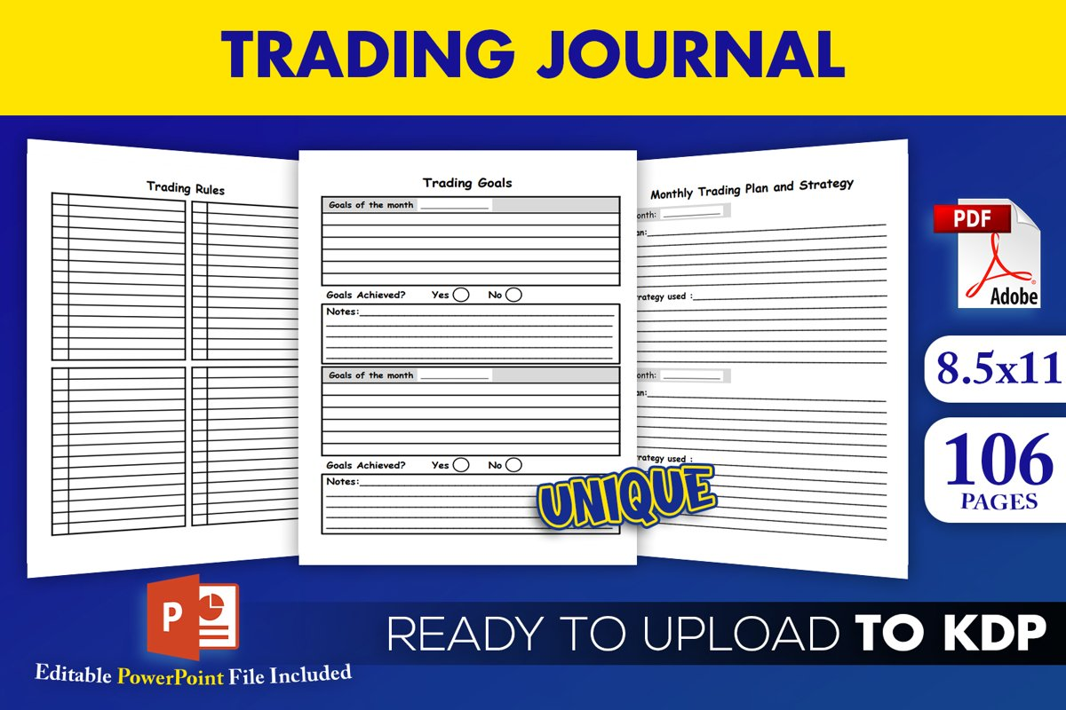 Trading Journal Trade Log Book KDP Interior Ready to Upload example image 1