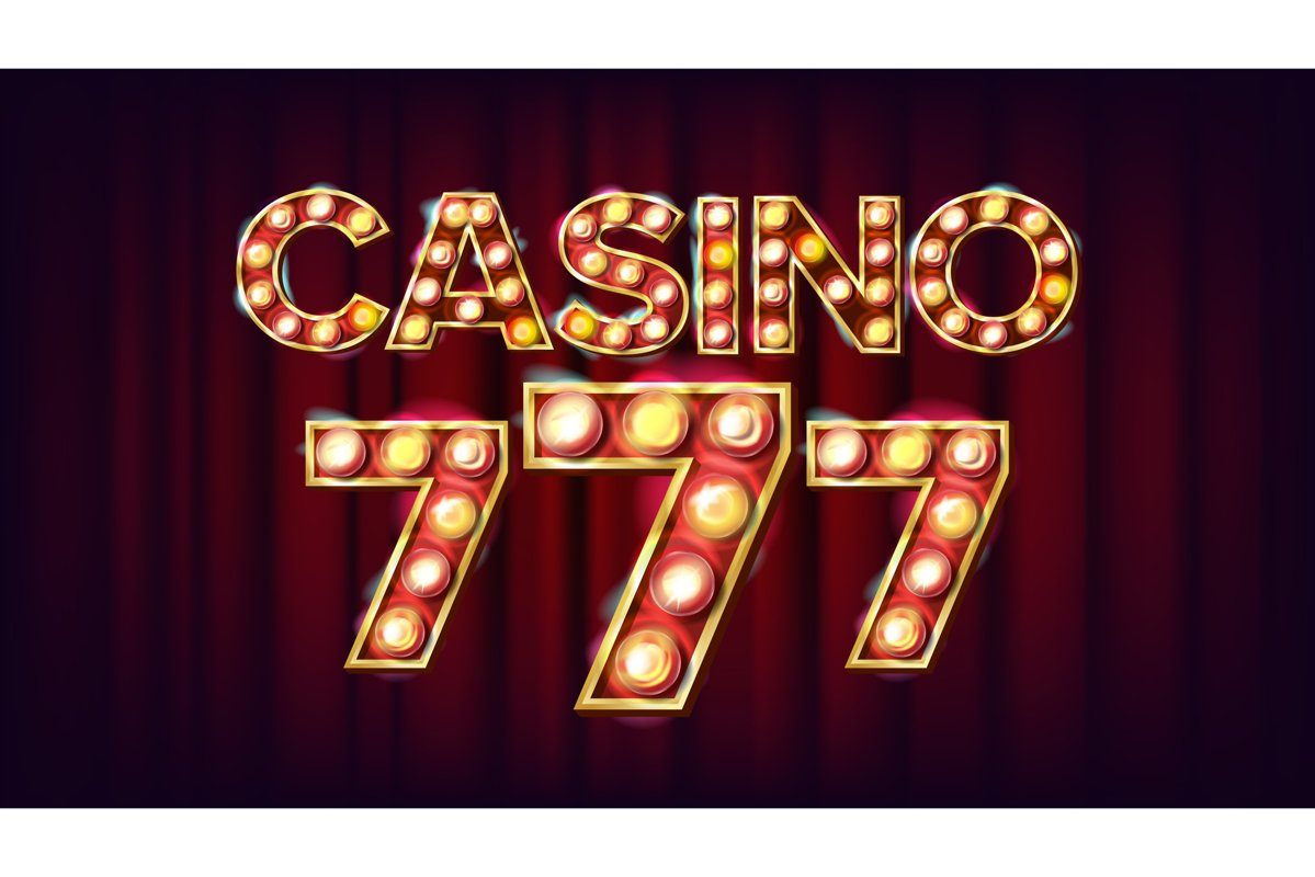 Casino 777 Banner Vector. Casino Vintage Style Illuminated example image 1