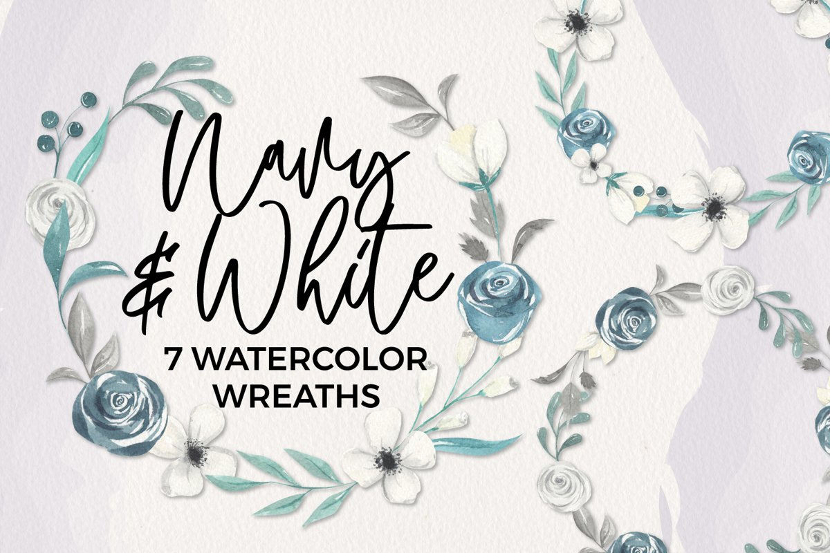 Navy & White 7 Wreaths Watercolor Blooms Garlands Florals example image 1