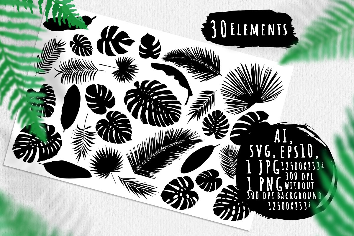 Tropic leaves silhouettes bundle example image 1