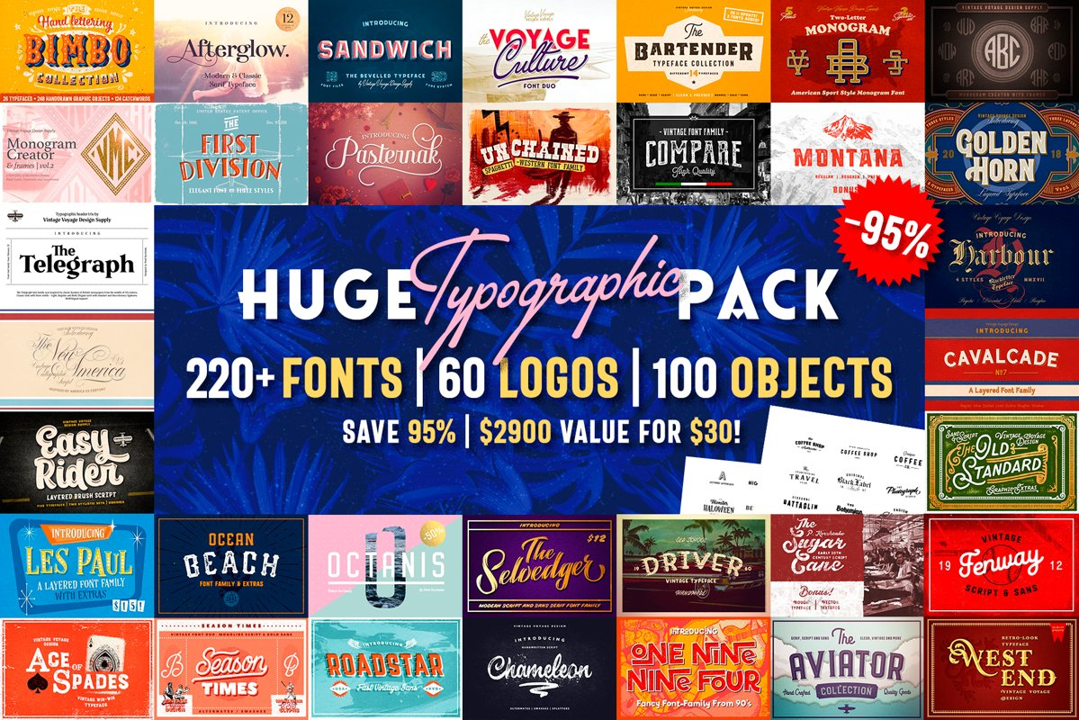 Huge Typographic Pack 60 Logos ! example image 1