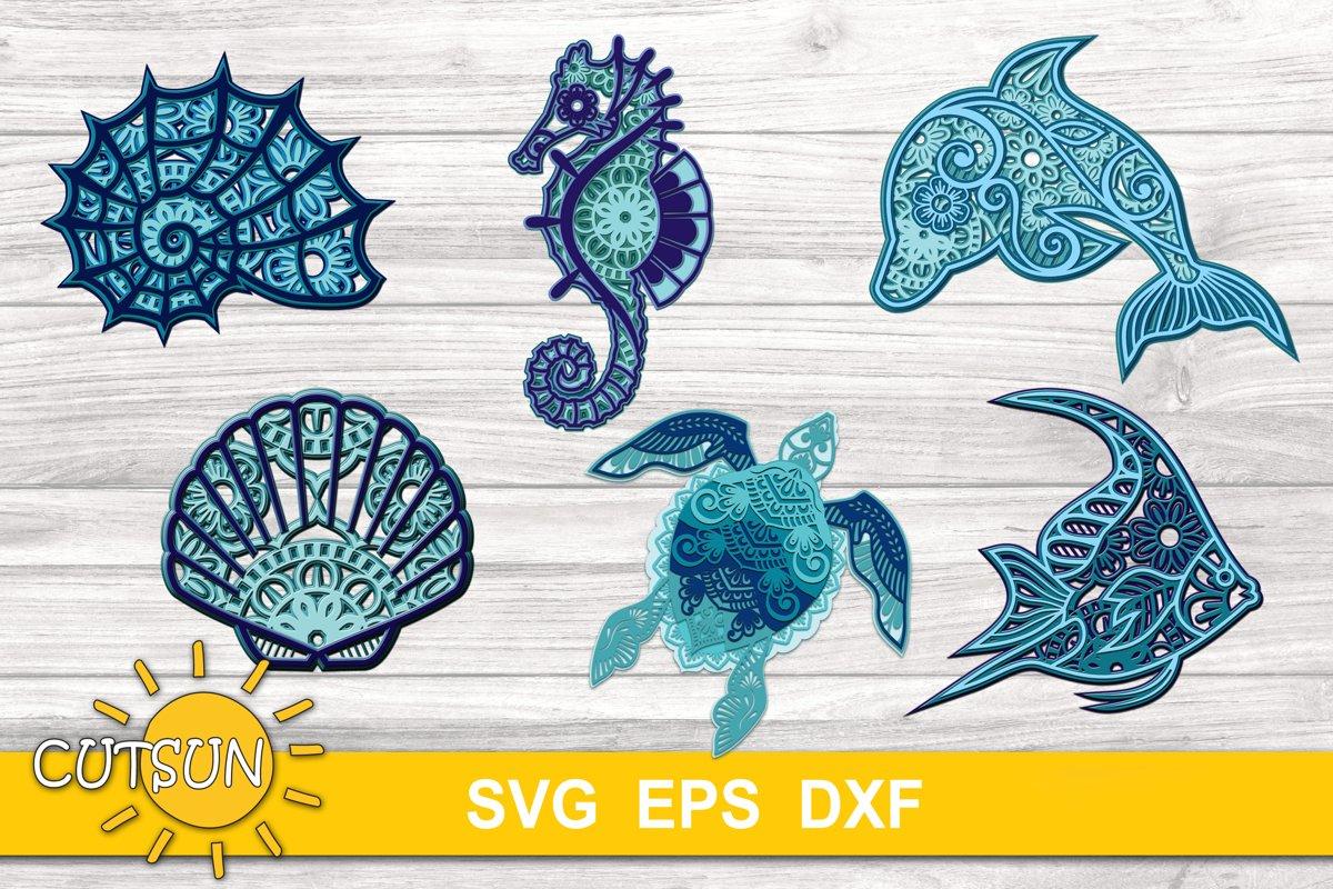 3D Layered Mandala Sea Creatures SVG Bundle example image 1