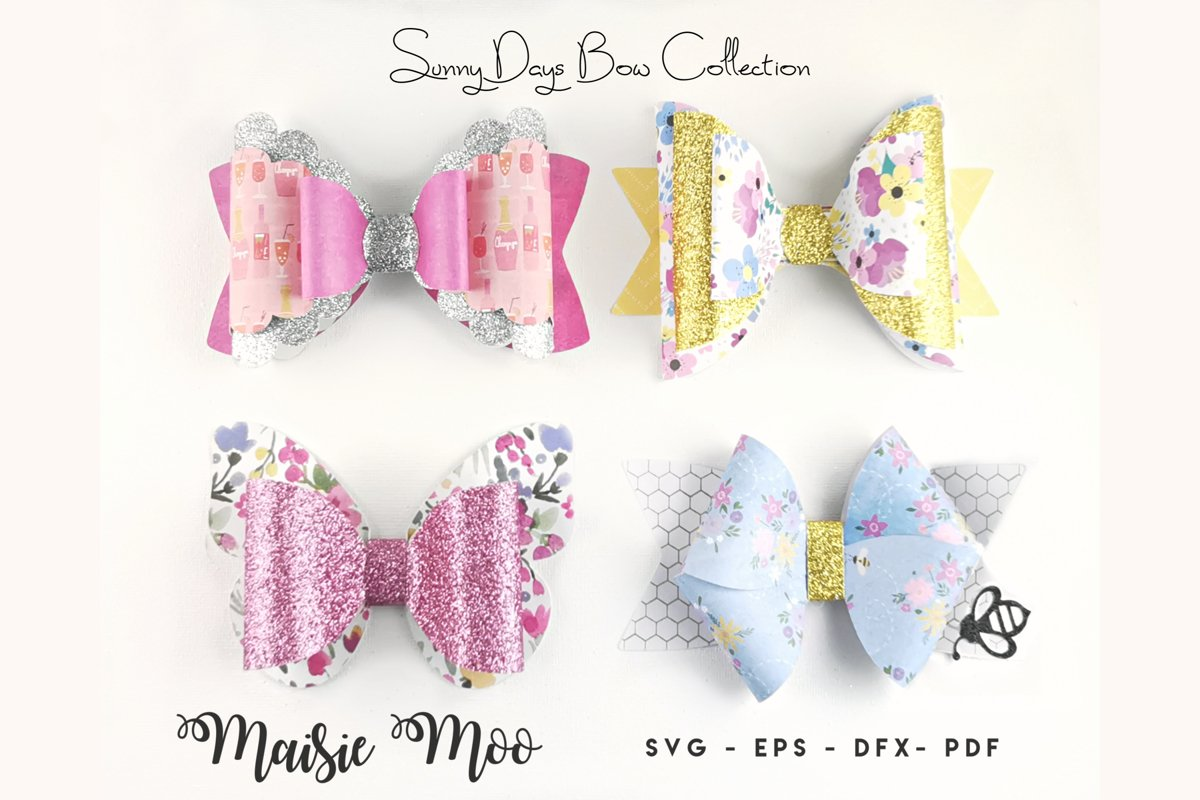 Bow Bundle Template SVG, Spring Bow SVG, Faux Leather Bow example image 1