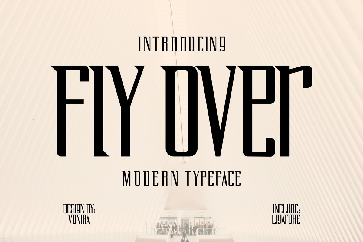 Fly Over   Modern Typeface Font example image 1