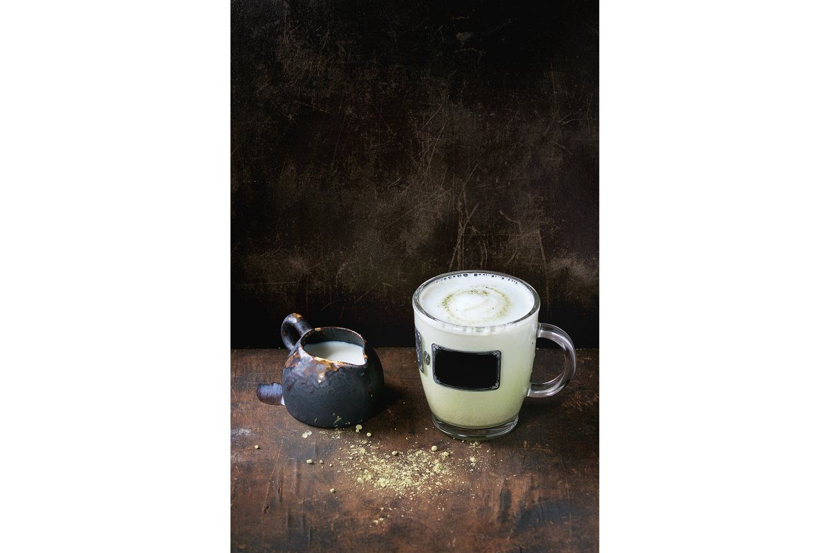 Matcha latte with milk example image 1