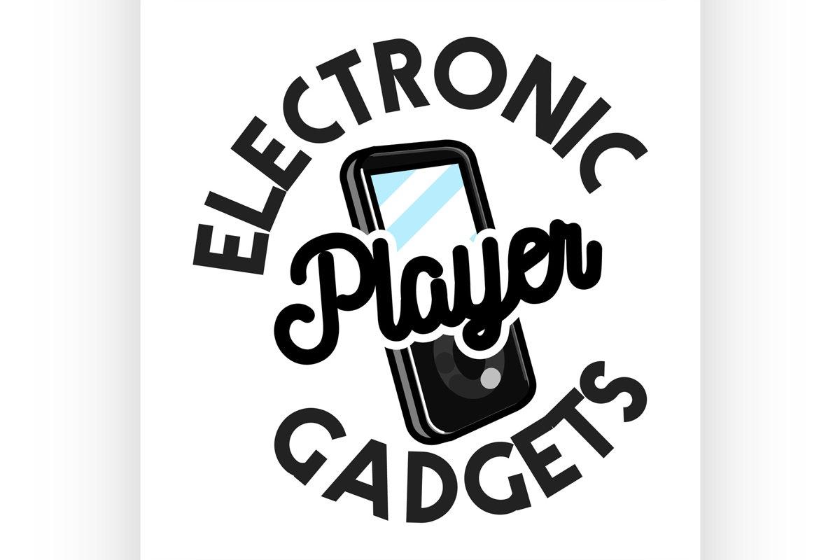 Color vintage electronic gadgets emblem example image 1