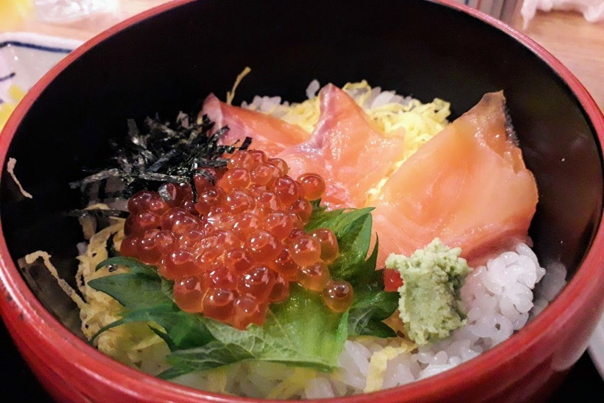 Food photos Lunch with Salmon Red caviar and rice on Okinawa example image 1