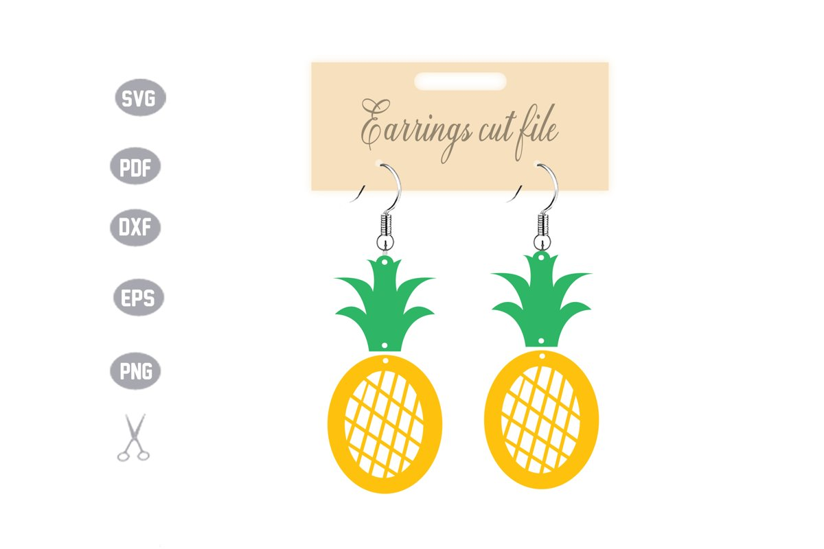 Pineapple Earrings Template SVG example image 1