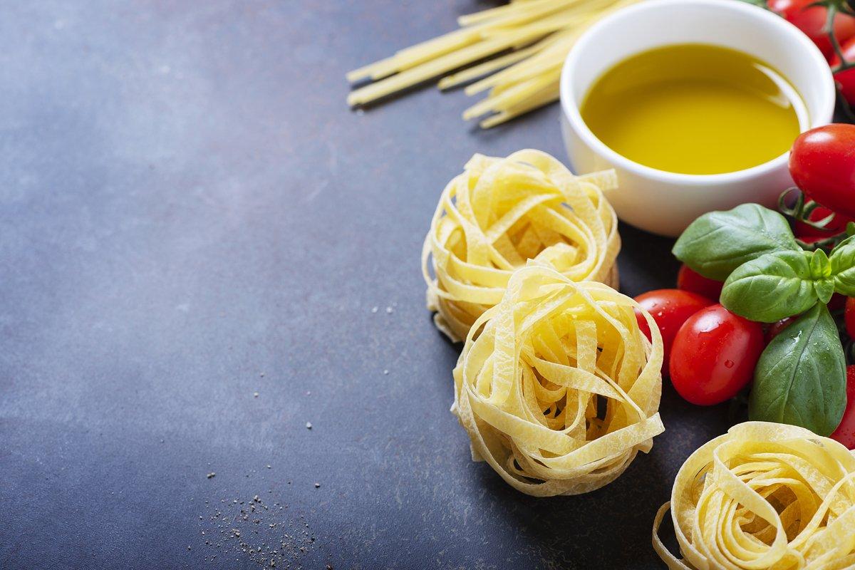 Concept of Italian food with raw tagliatelle, tomato, basil, example image 1