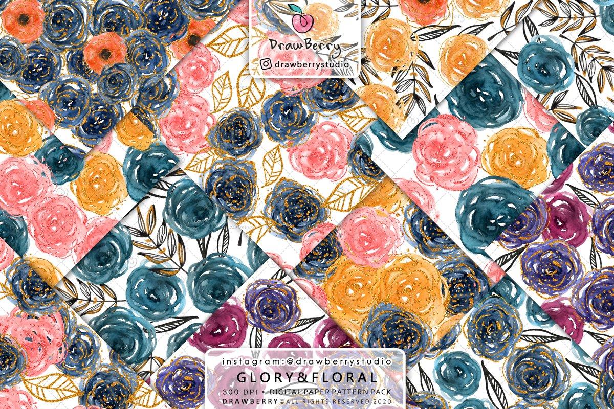 Watercolor Rose Digital Paper Pack example image 1