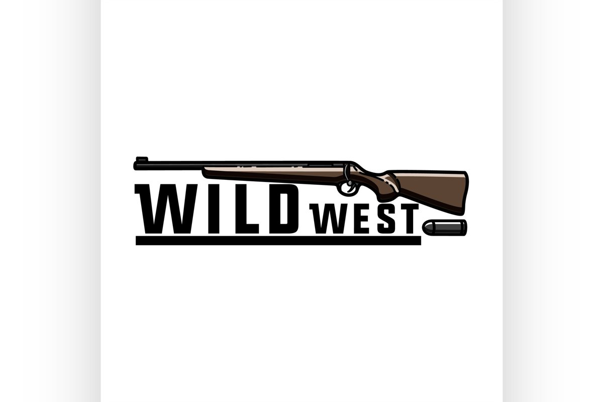 Color vintage wild west emblem example image 1