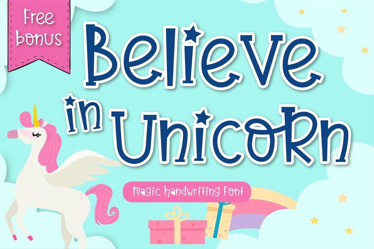 Believe in unicorn Handwriting- cute kid font Kawaii style! example image 1
