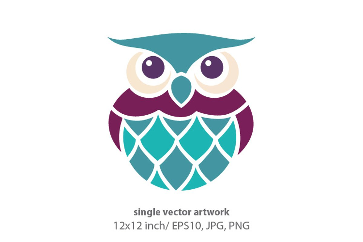 cute little owl - single vector artwork example image 1