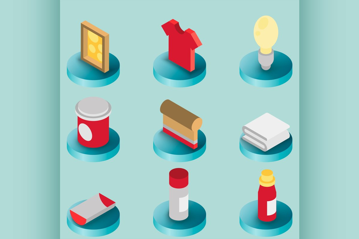 Silkskreen color isometric icons example image 1