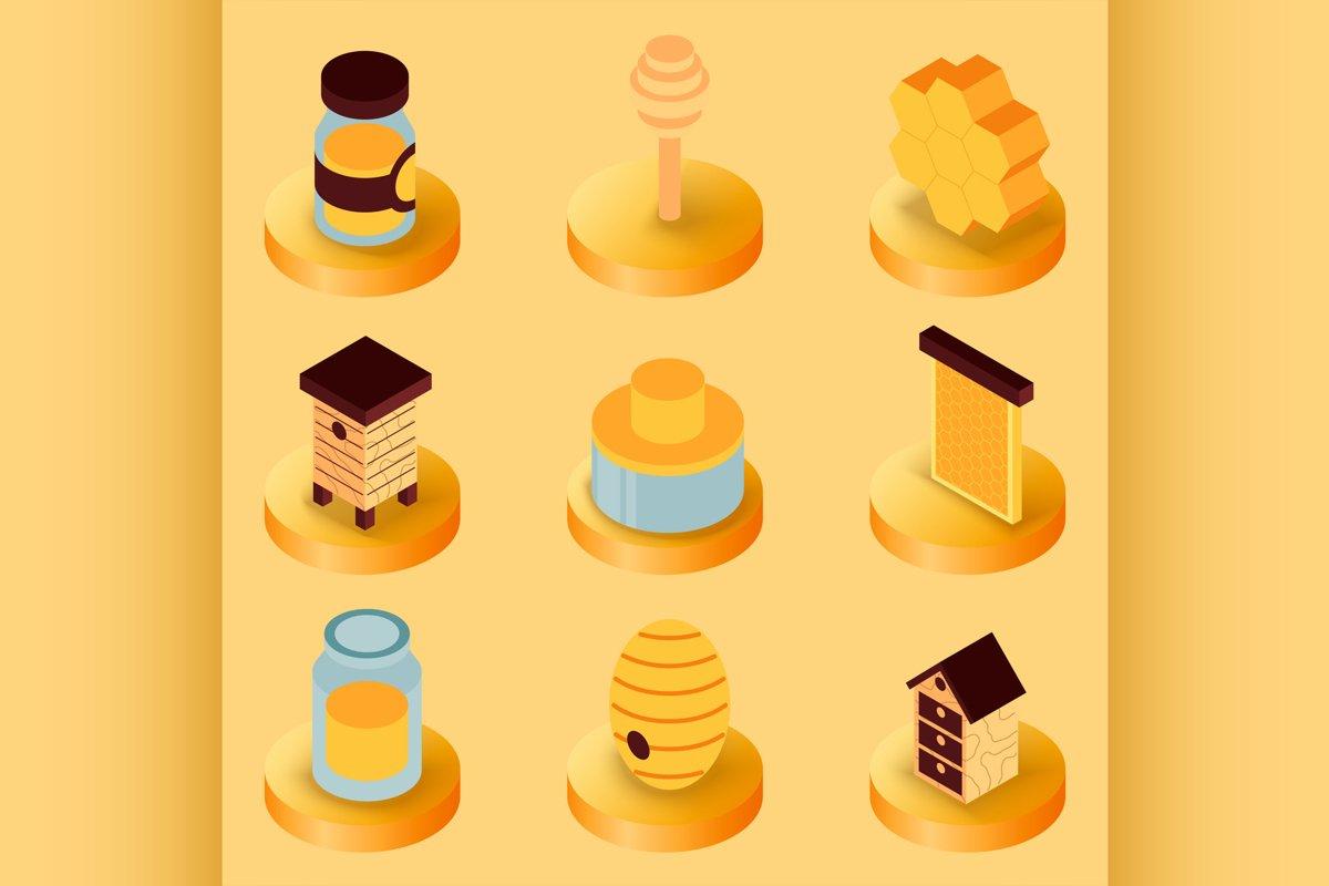 Honey flat isometric icons example image 1