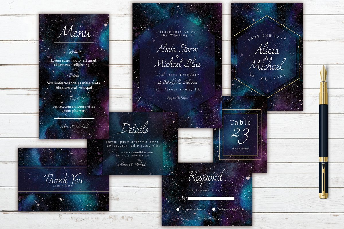 Colorful Cosmic In Space Watercolor Wedding Invitation Set example image 1