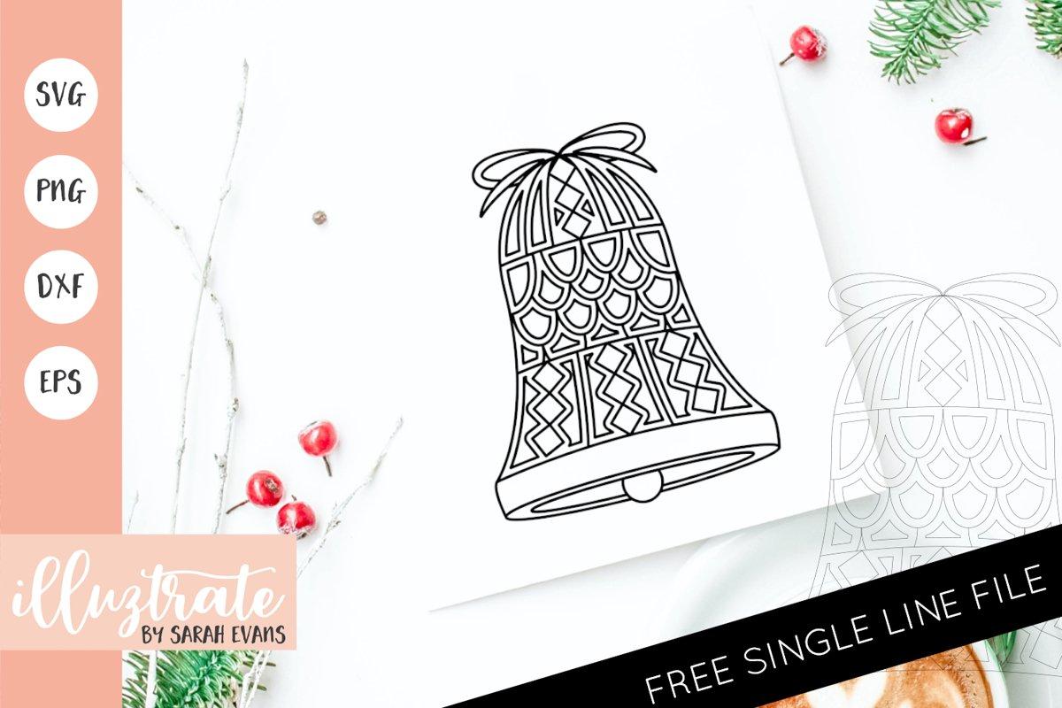 Christmas Bell Mandala SVG | Christmas Mandala SVG Cut File example image 1