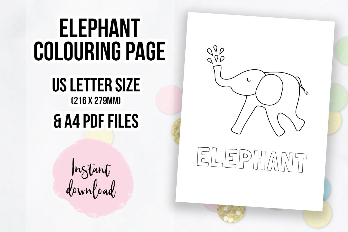 Cute Elephant Coloring Page | Colouring Book Page example image 1