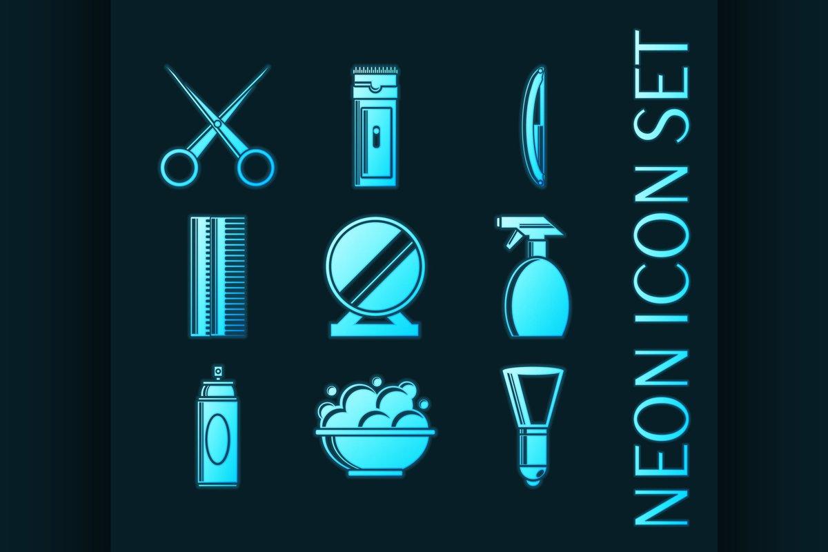 Set of Barbershop glowing style neon icons example image 1