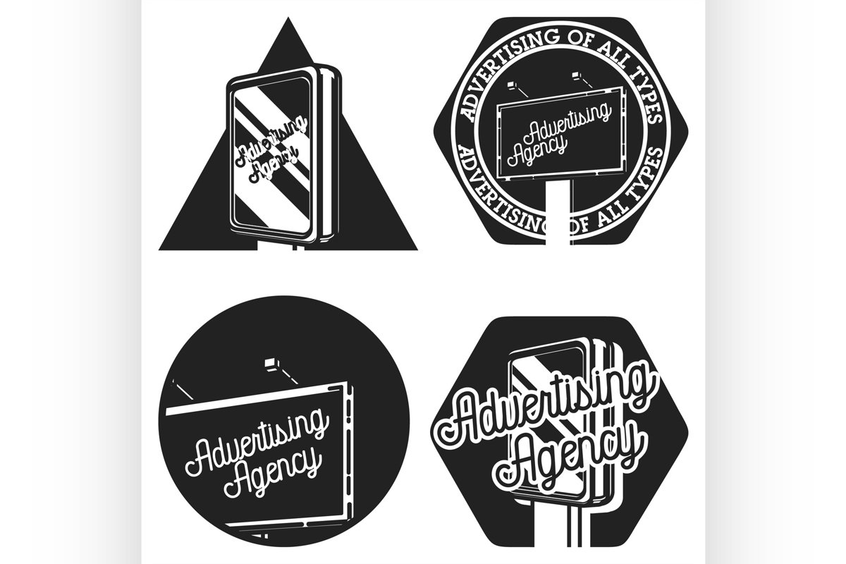 Vintage advertising agency emblems example image 1