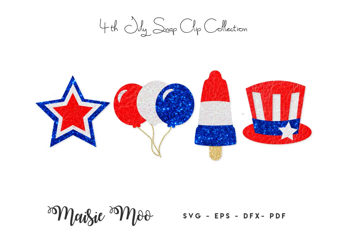 4th of July Snap Clip SVG, Snapclip Template, Bow Center example image 1