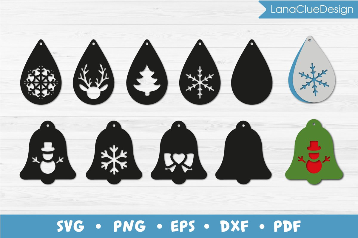 Christmas Earrings SVG Cut Files example image 1