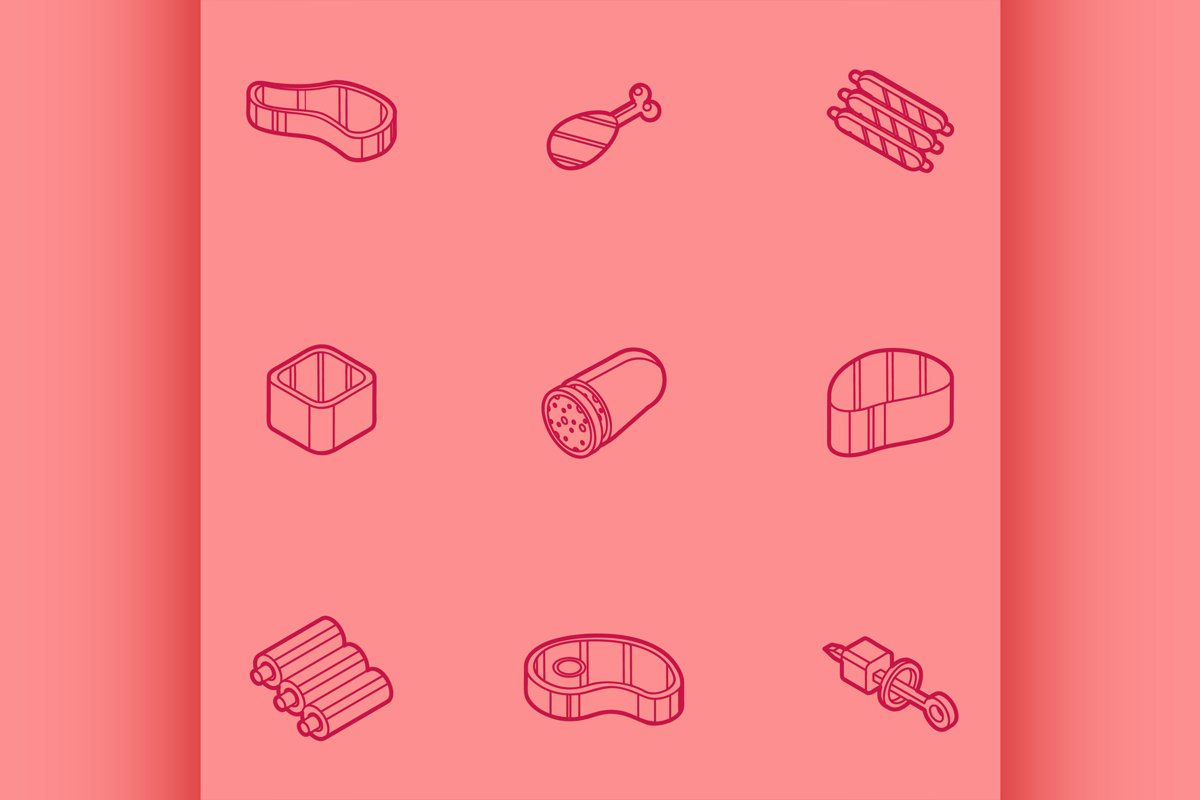 Meat color outline isometric icons example image 1