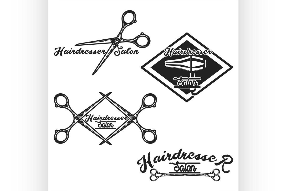 Color vintage hairdresser salon emblems example image 1