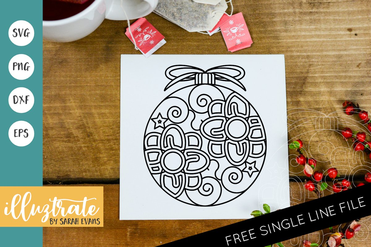 Christmas Bauble Mandala SVG | Christmas Mandala SVG Cut example image 1