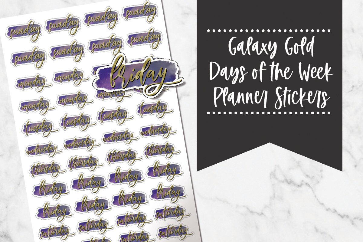 Galaxy Gold Watercolor Days Of The Week Planner Stickers example image 1