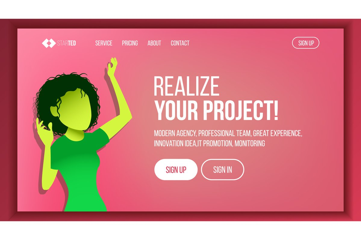 Landing Web Page Design Vector. Website Business Style. example image 1