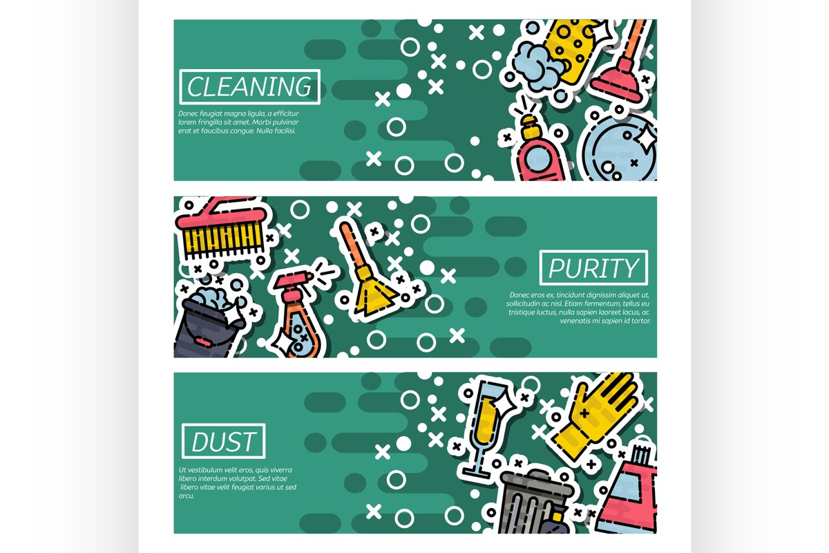 Set of Horizontal Banners about cleaning example image 1