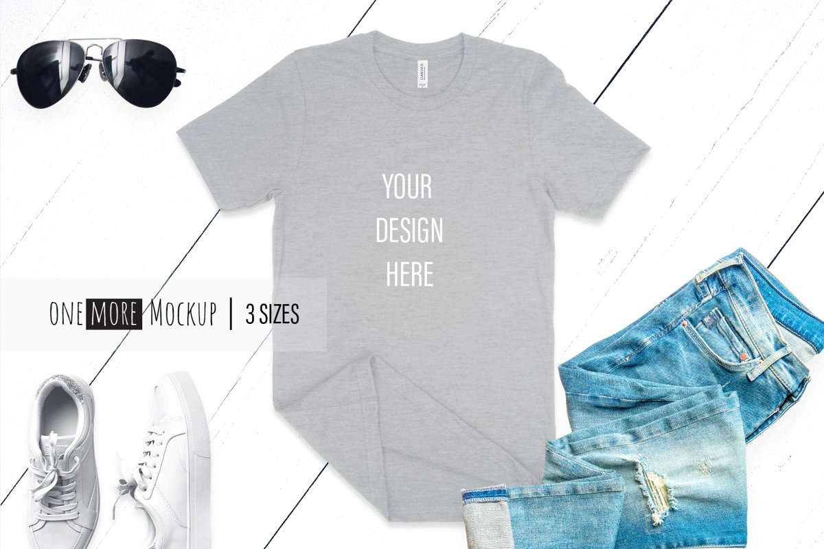 Grey TShirt Mockup | Bella Canvas 3001 Heather Athletic example image 1