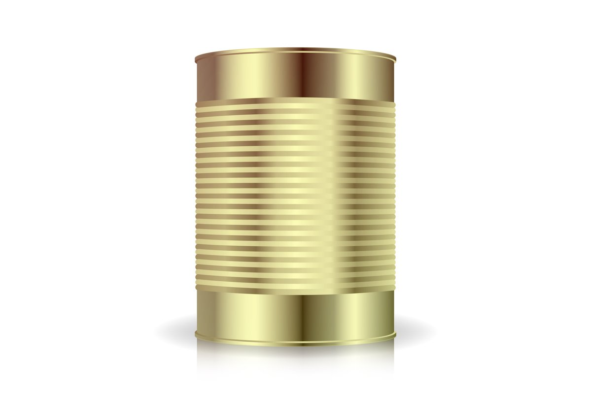 Metallic Cans Vector. Food Tincan Ribbed Metal Tin Can example image 1