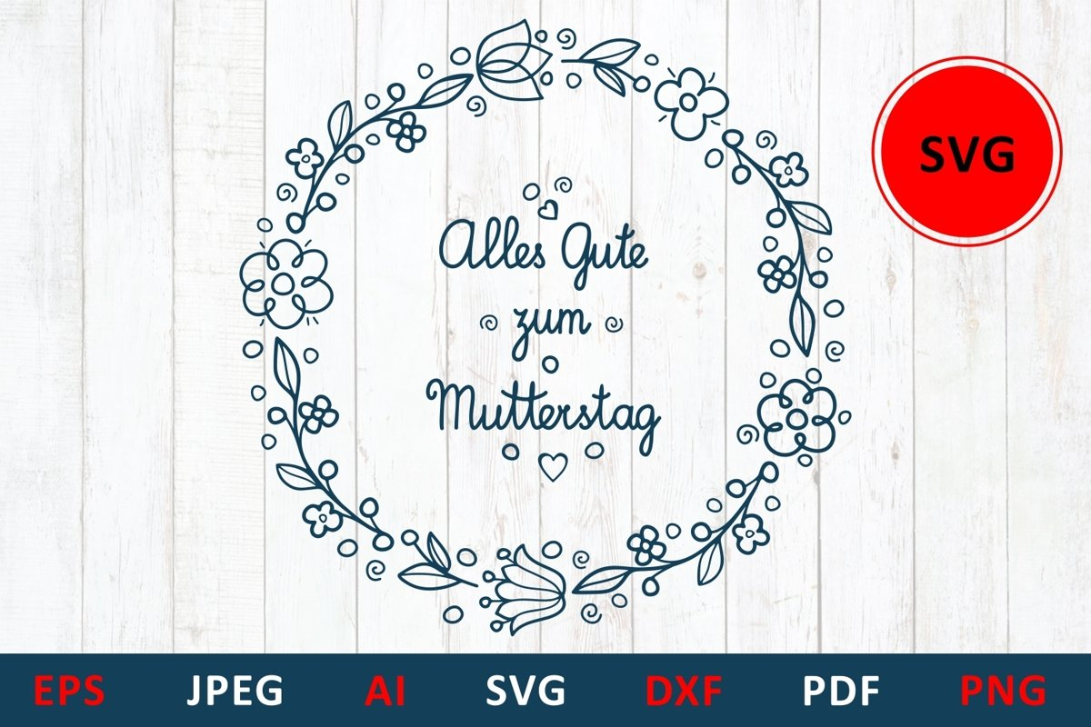 svg Happy mother's day greeting card in Deutschland example image 1