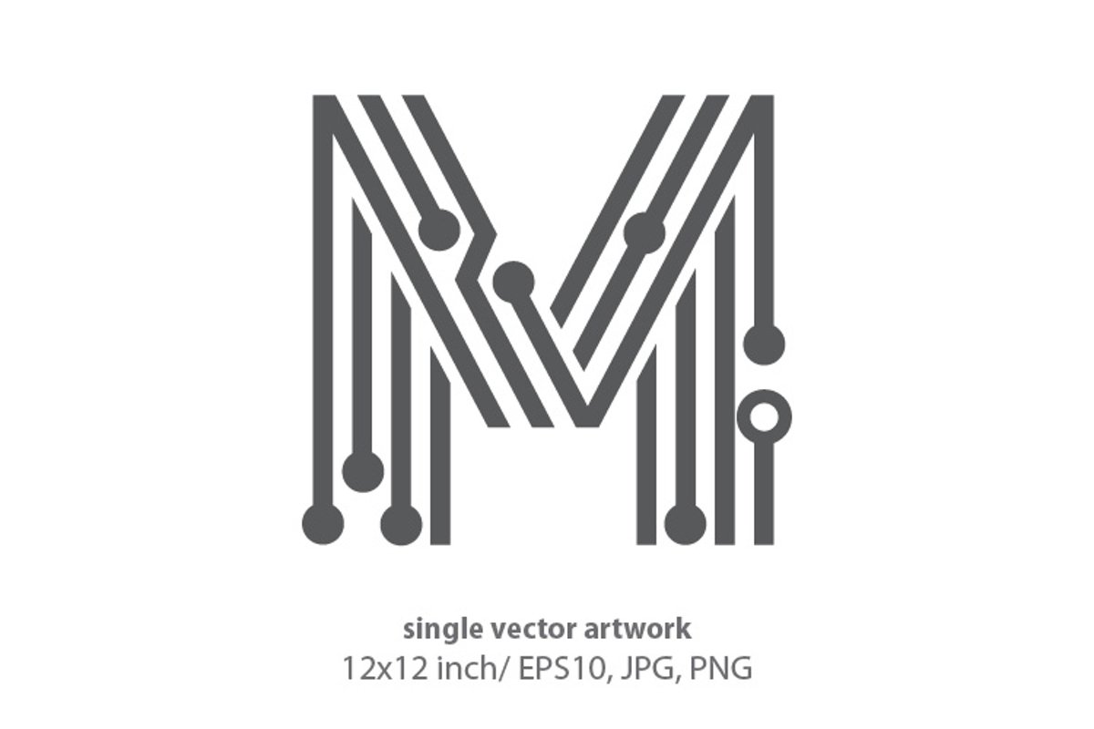 digital letter m- single vector artwork example image 1