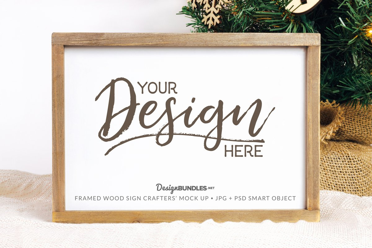 Framed Wood Sign Crafter's Mock up - JPG & PSD formats example image 1