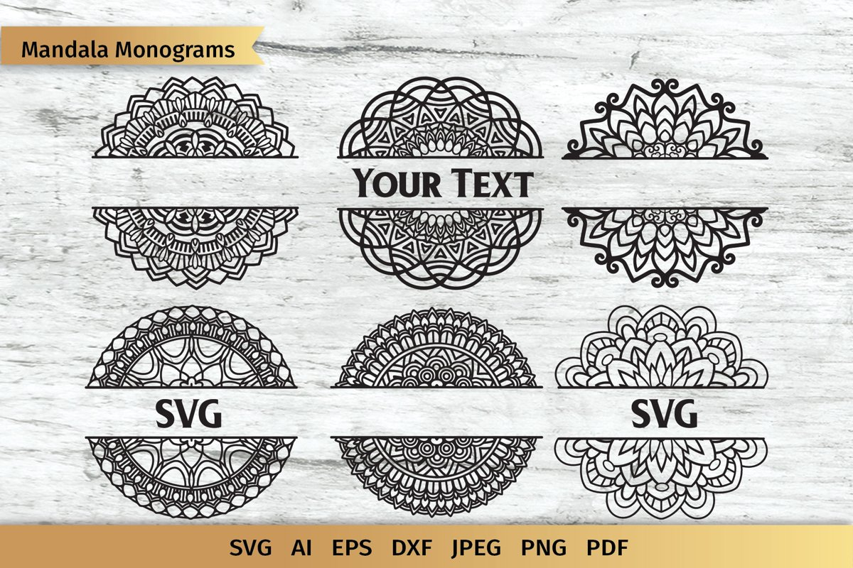 Split Mandala SVG   Name Monogram   Cut File example image 1