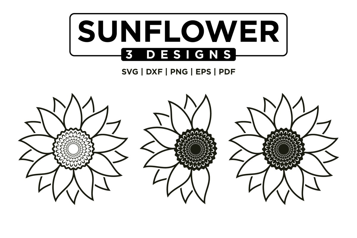 Sunflower SVG Bundle, Sunflower Clipart SVG Mini Bundle example image 1