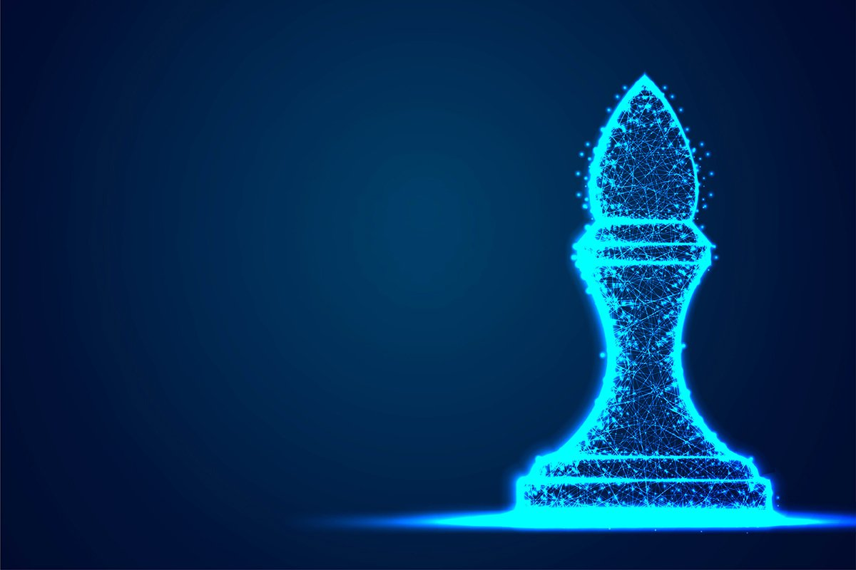Chess Bishop wireframe Polygon blue frame structure, Busines example image 1