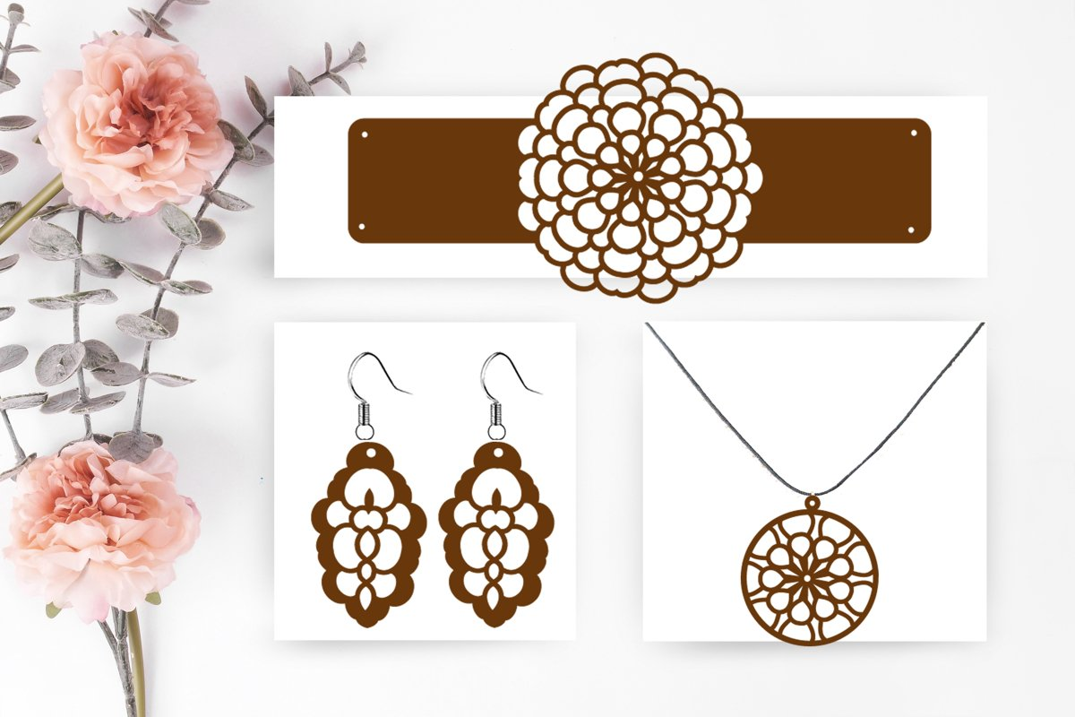 Set Jewelry Earrings SVG Cut File example image 1