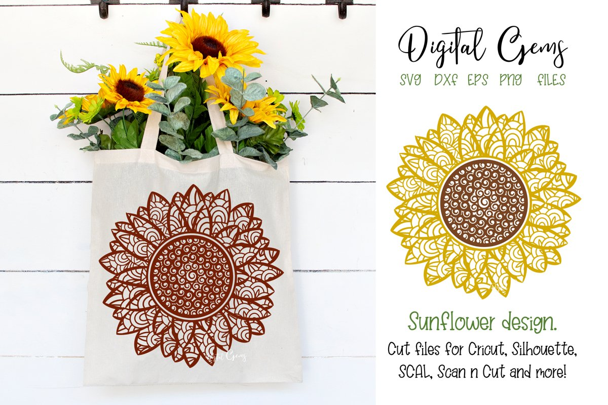 Sunflower SVG / PNG / EPS / DXF Files example image 1