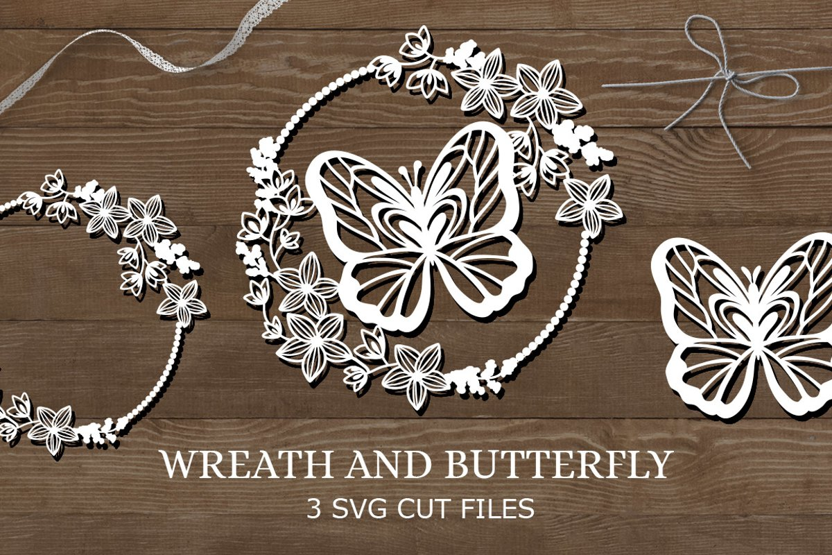 Wreath and butterfly / Paper cut silhouette example image 1