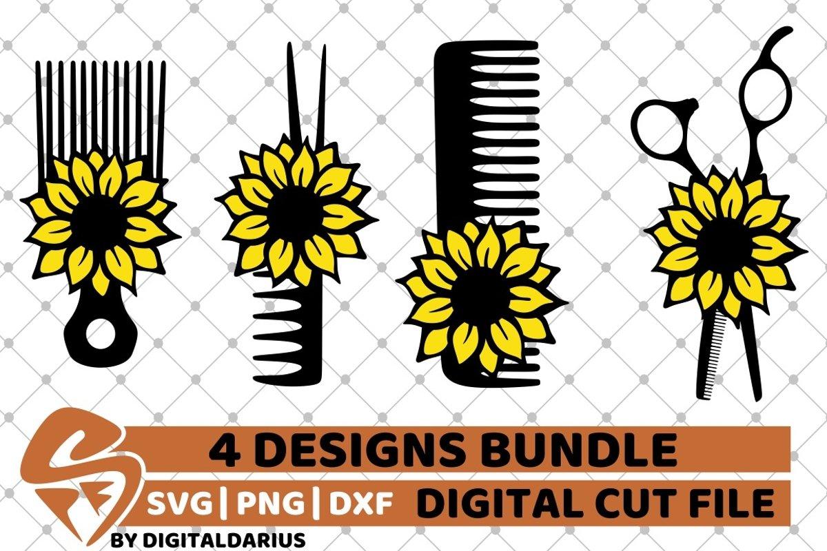 4x Hairdresser Designs Bundle svg, Hairstylist, Sunflower example image 1